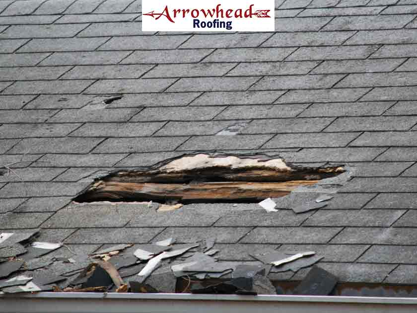 storm-damaged roof