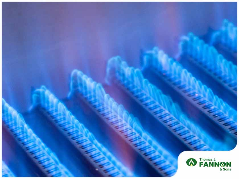 blue flames in a furnace