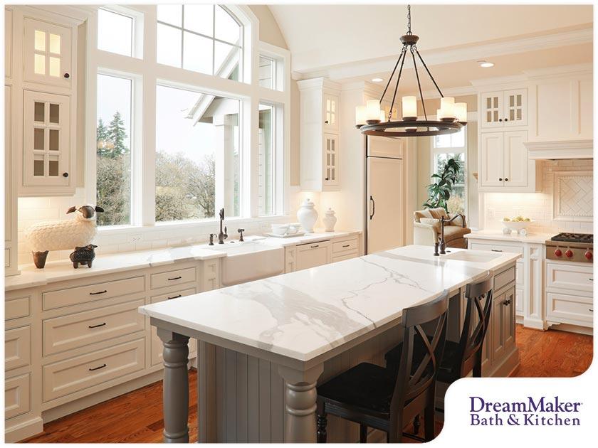 cream kitchen with large windows