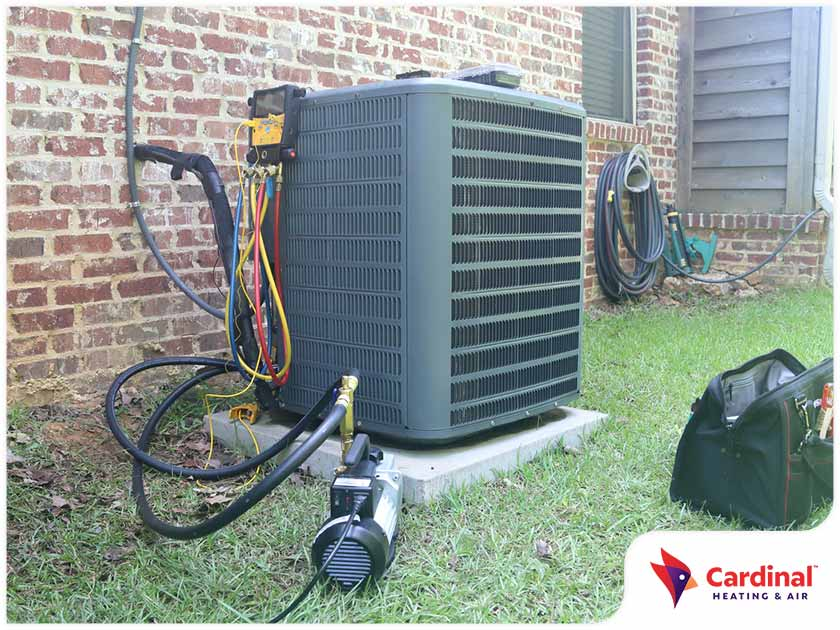 Outdoor HVAC unit maintenance