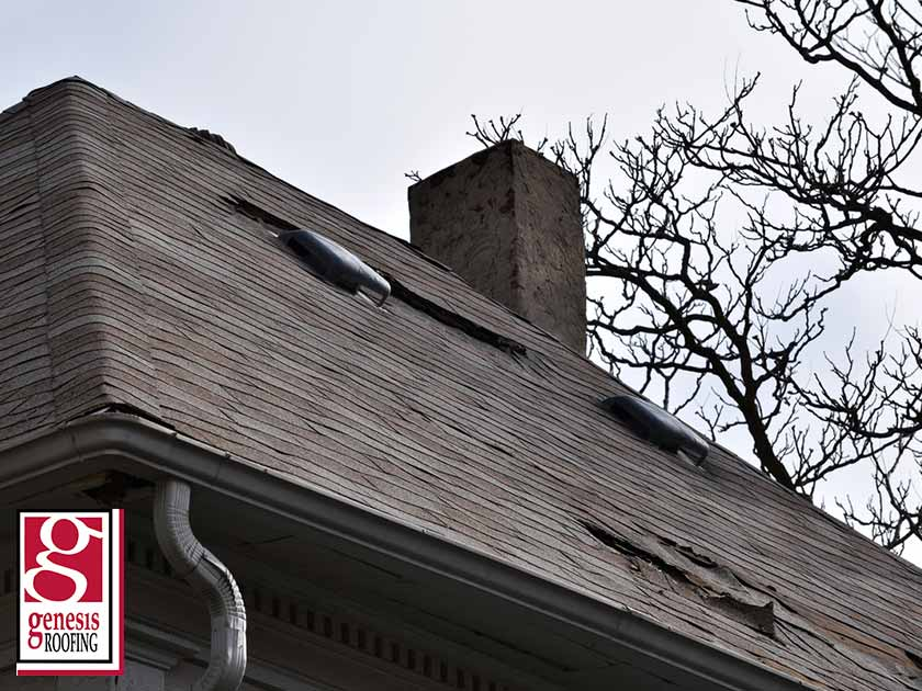 damaged asphalt shingle roof residential roof replacement